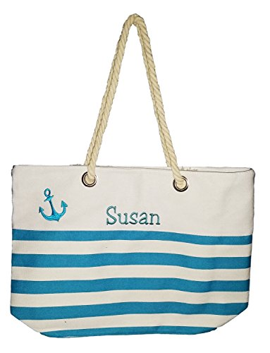 Custom Nautical Stripe Anchor Accent Zipper Beach Bag Tote with Rope Handles (Personalized, Turquoise)
