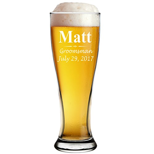 Custom Personalized Pilsner Beer Glasses - Engraved Groomsmen Beer Mug Glass Gifts - 16 oz - 3 Lines Design
