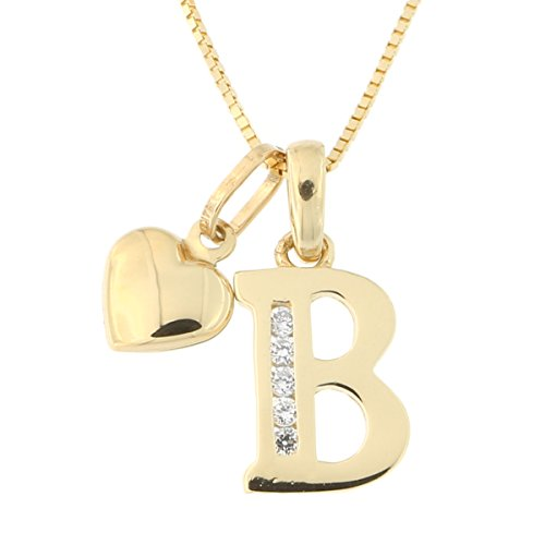 14k Yellow Gold Cubic Zirconia Initial Pendant with Heart Charm Necklace, B, (14kt Gold Diamond Name Pendant)