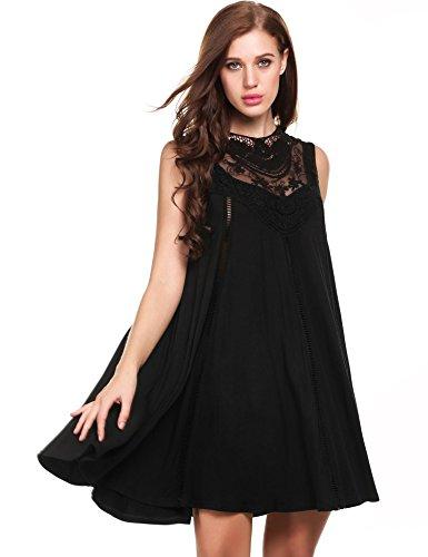 Zeagoo Women's Sleeveless Lace Patchwork Loose Casual Mini Cotton Dress (X-Large, Black) - Black Chiffon Cocktail Dress