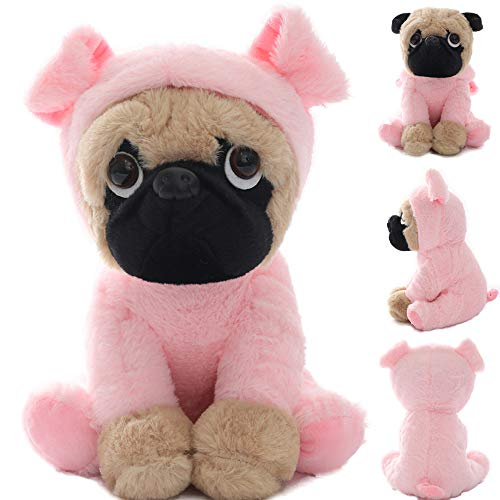 Joy Amigo Stuffed Pug Dog Puppy Soft Cuddly Animal Toy in Costumes - Super Cute Quality Teddy Plush 10 Inch (Pig)