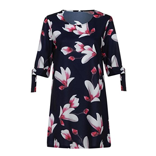 Printemps Robes Bleu des Dames De Femmes D'T Bowknot Robe Floral Femmes Lady Chic Manches Cocktail Party Les pour Clearance Mini Casual Sundress q1EwBZ