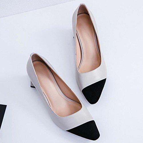 Zapatos Wild de Tacones Work de de Seasons Novedad de Zapatos Four GAOLIXIA para Cuero Gris Court Alto Mujer Tacón Zapatos Carrera Colorblock Temperament Hpqwxvf1