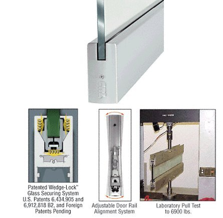 CRL Brushed Stainless Anodized 4'' Square Door Rail Without Lock for 1/2'' Glass - 35-3/4'' Length by CR Laurence