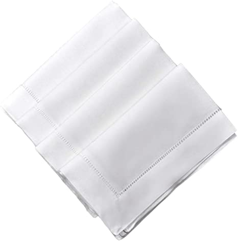 Amazon Com Bumblebee Linens White Linen Dinner Napkins 20 X 20 Inch Set Of 4 Hemstitched Cloth Fabric Table Wedding Napkin Washable Hotel Home Kitchen