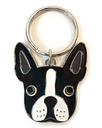 Boston Terrier Key Chain House Car Original Design Silver Tone 1'' Split Ring by Square Paisley Design