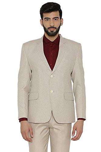 WINTAGE Men's Linen Tailored Fit Solid Evening/Casual Blazer Coat Jacket : Beige, X-Large