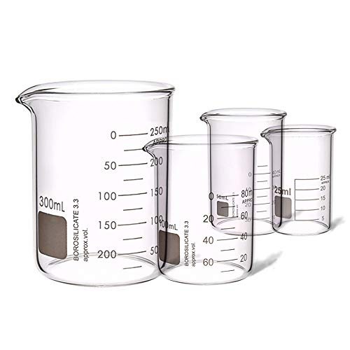 4PCS Heavy Duty Low Form Graduated Beakers Measuring Beaker Set Borosilicate Beaker Lab Beaker Industrial & Scientific labware Beakers Laboratory Beaker Home & Kitchen 25ML 50ML 100ML 300ML (4)