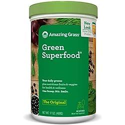Amazing Grass Green Superfood, Original, Powder, 60 servings, 17oz Wheat Grass, Spirulina, Alfalfa, Acai, Maca, Flax Seed, Probiotic, Active Cultures, Vitamin K, Greens, Detox