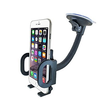 HoHoHoHot Car Mount, One Touch Windshield Universal Holder for Smartphones Including iPhone 6, 6S, Galaxy S7, S6 Edge, OnePlus 3 and Other Smartphones - Black