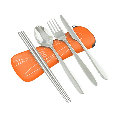 4 Piece Stainless Steel (Knife, Fork, Spoon, Chopsticks) Lightweight, Travel / Camping Cutlery Set with Neoprene Case (orange)