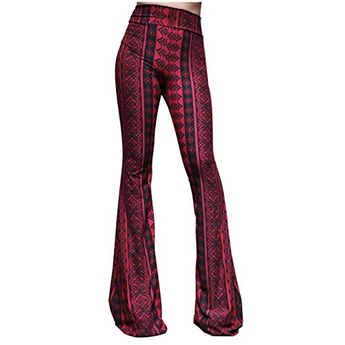 (ShopMyTrend SMT Women's High Waist Wide Leg Long Bell Bottom Yoga Pants X-Large Wine Line)