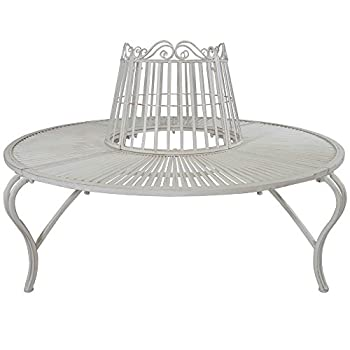 Titan Outdoor Tree Surround Bench Outdoor Metal Steel Garden Park Backyard White Protector