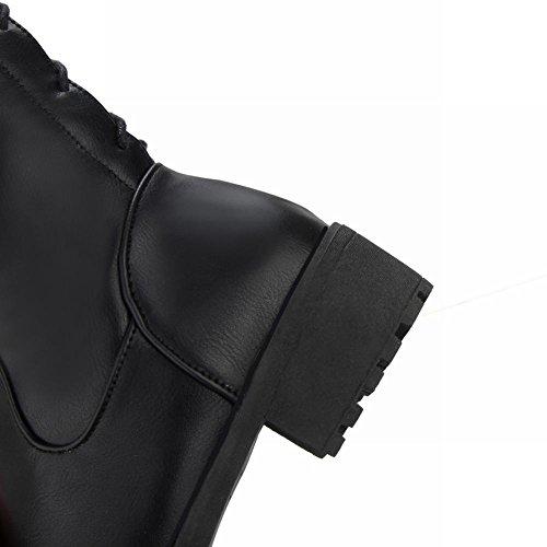 Mee Shoes Damen backstrap Reißverschluss runde langschaft Stiefel Schwarz