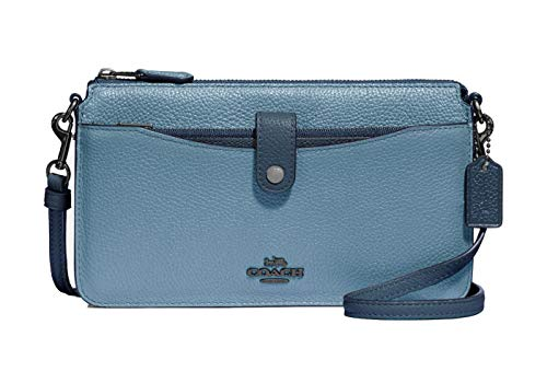 Coach Women`s Pop-Up Messenger Bag In Polished Pebble Leather (One Size, Slate -