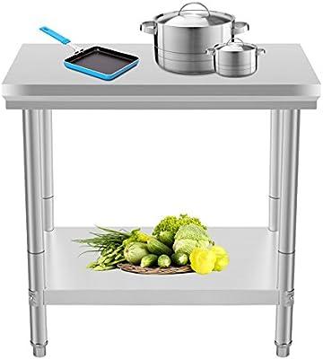 Oldriver 60x90x80cm Tavolo Da Lavoro Per Cucina Professionale