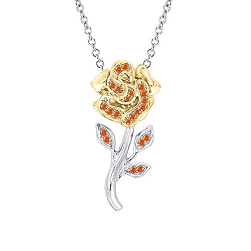 Beautiful Rose Flower Orange Sapphire Pendant Necklace 18k White & Yellow Gold Over 925 Sterling Silver for - Gold 18k Sapphire Pendant