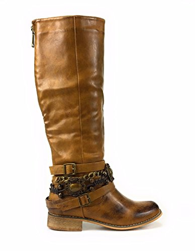 Flat Tan Over High Liliana Thigh Knee Frost1 Boots Up Lace Strappy Blogna 1 qvO0qZ6x