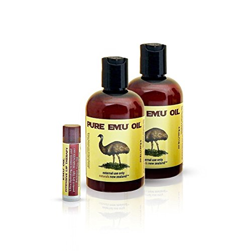 Emu Oil Premium Golden Grade A Set of 2 Bottles and Emu Oil Lip Balm (Pack of 3 Products)