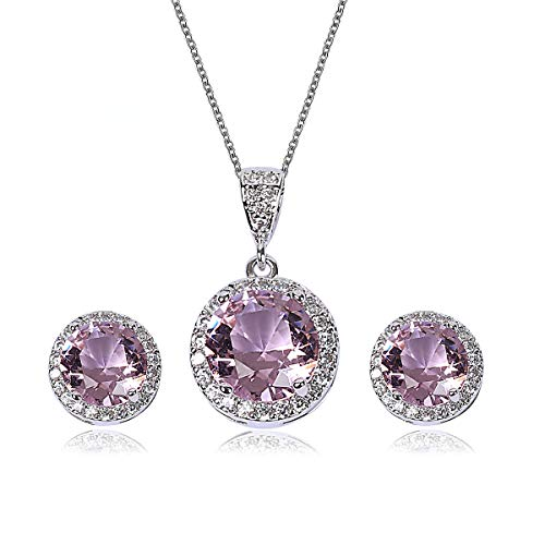 AMYJANE Bridal Jewelry Set for Women - Sterling Silver Round Pink Crystal Cubic Zirconia Pendant Necklace Earrings Set for Wedding Bride Bridesmaids Party Prom Pack ()