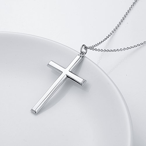 Men's S925 Sterling Silver Classic Cross Pendant Necklace 24'' Silver Chain by SILVER MOUNTAIN (Image #3)