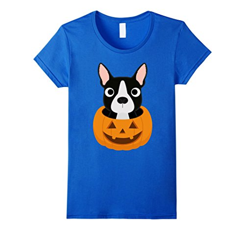 Womens Halloween costume gifts Boston Terrier dog lover t shirt Large Royal Blue - Best Boston Terrier Halloween Costumes