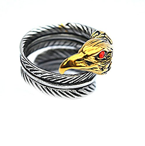 Men's Stainless Steel Finger Rings CZ Gold Eagle Head Wing Feather Vintage Gothic Biker Size - Birmingham Sunglasses