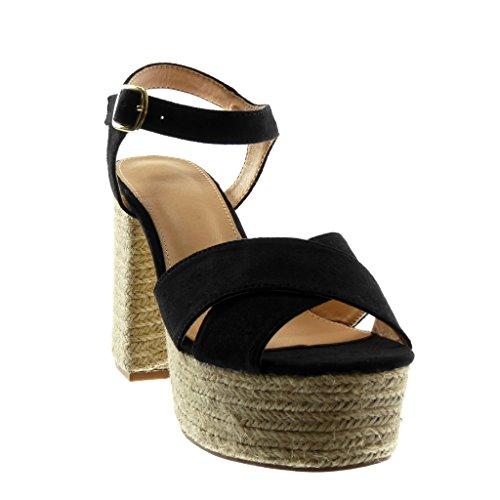 con 11 Sandali Fibbia Alla Tacco Scarpe Moda Mules Caviglia a cm Cinturino Blocco Angkorly Donna Tanga Zeppe Alto Corda wCITx