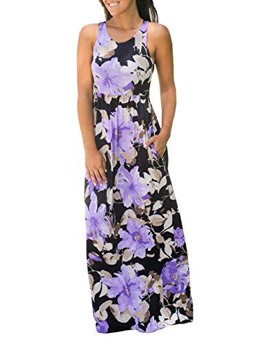 DUNEA Women's Maxi Dress Floral Printed Autumn 3/4 Sleeve Casual Tunic Long Maxi Dress (X-Large, Purple#1) (Perfect Coverage)