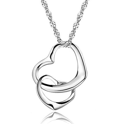 Moonlight Collections Floating Interlocking Heart Necklace Love 925 Sterling Pendant for Women, Mom, Girlfriend & Girls