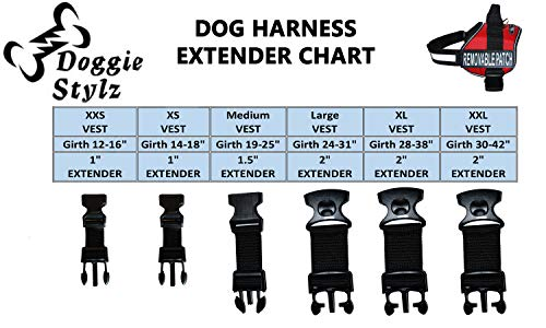 Doggie Stylz Dog Harness Girth Strap Extender Harnesses, Adds 5 Extra inch Extension to Your Dogs Girth - Extension Girth