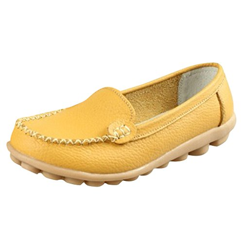 Hee Grand Women Work Flat Moccasin Loafer Slip-On Shoes CN 37 Yellow