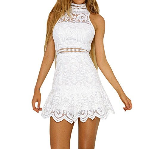 Women's Dress, 2019 New Women Summer Lace Backless Evening Party Beach Mini Dresses Sundress by E-Scenery (White, X-Large)