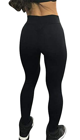 e629724ed Amazon.com  YYG Women Gym Stretchy Sport Butt Lifting High Waist Solid Yoga  Pants Trousers  Clothing