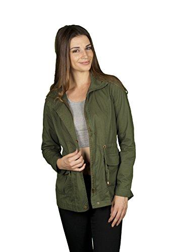 TL Women's Militray Anorak Parka Hoodie jackets with Drawstring (Medium, IJ2002_OLIVE)