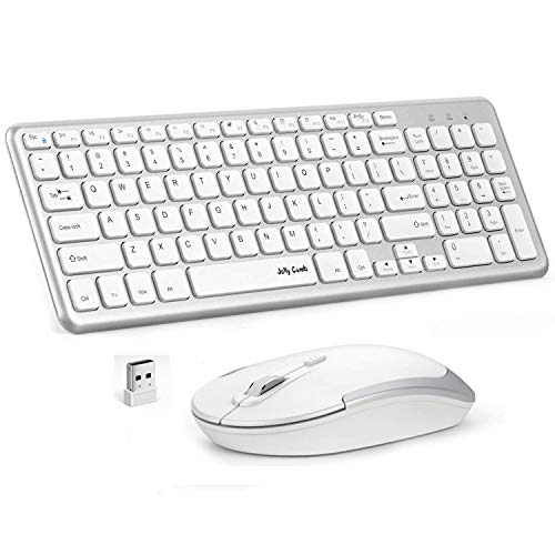 Wireless Keyboard Mouse, Jelly Comb K027B 2.4GHz Full-Size Compact Wireless Keyboard and Mouse Combo for Desktop, Laptop, Computer, PC, Windows OS - White and Silver