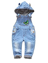 Kidscool Baby Boys/girls Grey Plaid Lining Denim Bib Hooded Overalls
