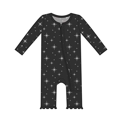 Kickee Pants Little Girls Holiday Print Muffin Ruffle Coverall with Zipper - Silver Bright Stars, 10 Years