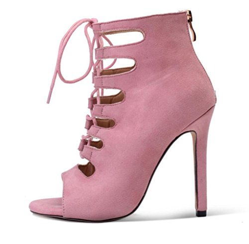De High Heel Style Artificial Abierta Nuevo Boots Summer Punta Womens Straps Linyi Pink Roman Ladies Cross Sandalias Leather nIqXWP