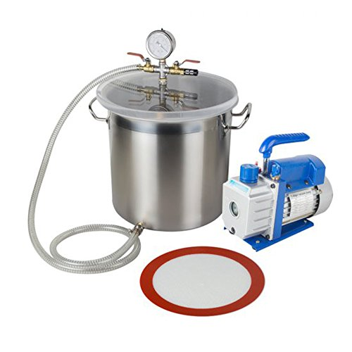 Zinnor 5 Gallon Stainless Steel Vacuum Degassing Chamber - 250ml Vacuum Degassing Chamber Silicone Kit w/3 CFM Pump Hose from Zinnor