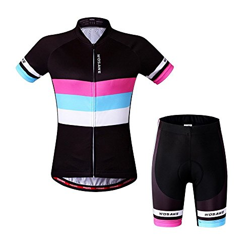 WOSAWE Women Short Sleeve Cycling Jersey and Shorts Suit, ColorShine, Size XL