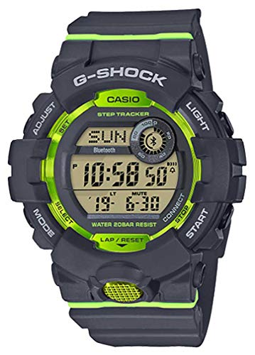 Casio G-Shock Men's GBD800-8 Bluetooth G-Squad Digital Watch, Grey/Lime Green (GRYLMGRN/8), One Size (Casio G Shock Smartphone)