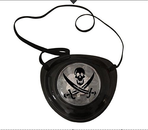 Mammoth Sales LED Light up Pirate Pirate's Eye Patch Cover Halloween Costume Eye Piece (Black Skulls) -