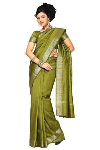 Olive Green Silk Sari - 4