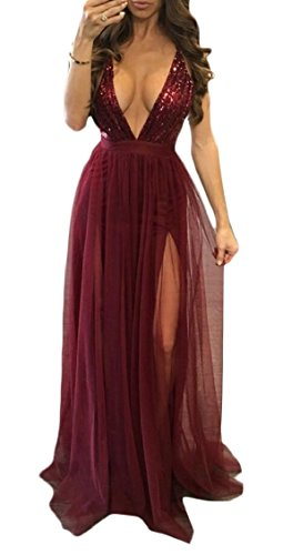 V Women Red Strap Backless Sexy Dress Club Jaycargogo Wine Split Deep Party High Sequins tOdXq
