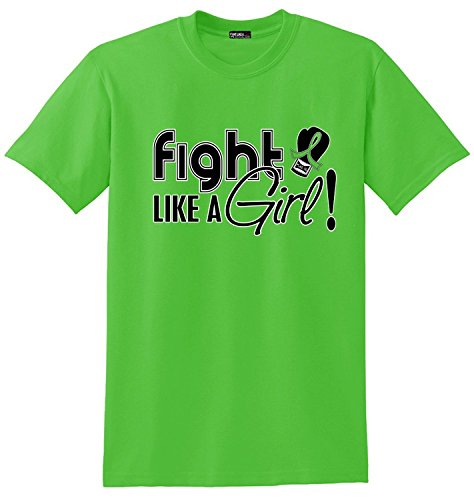 (Fight Like a Girl Signature Lyme Disease, Lymphoma, Muscular Dystrophy Awareness Unisex T-Shirt - Lime Green)