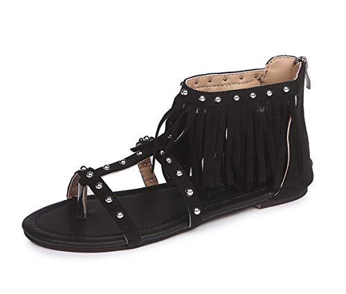 (Syktkmx Womens Flat Sandals Thong Boho Fringe Tassel Rivet Ankle Wrap Strap Zipper Summer Beach)