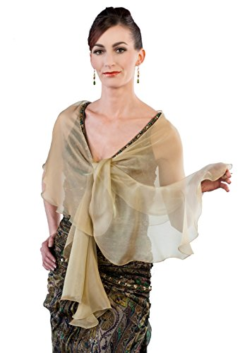 Antique Gold Evening Wedding Silk Chiffon Scarf Wrap Shawl by Lena Moro