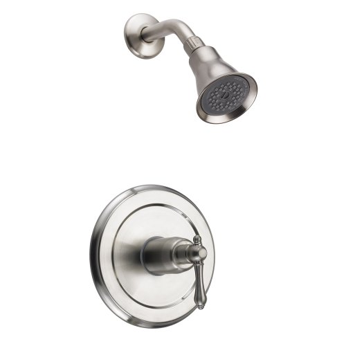 Fontaine Bellver Brushed Nickel Shower Faucet with Valve Set - Victorian Arm And Escutcheon