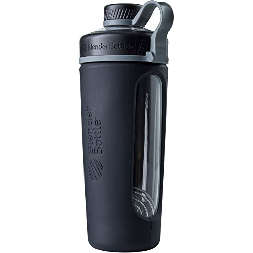 BlenderBottle Radian Glass Shaker Bottle, Black, 28-Ounce (Twist Silicone Whisk)